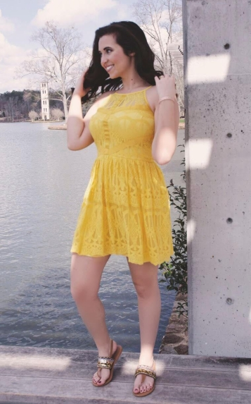 Model in Yellow Lace Summer Dress